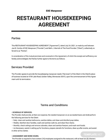 Restaurant Housekeeping Agreement Template