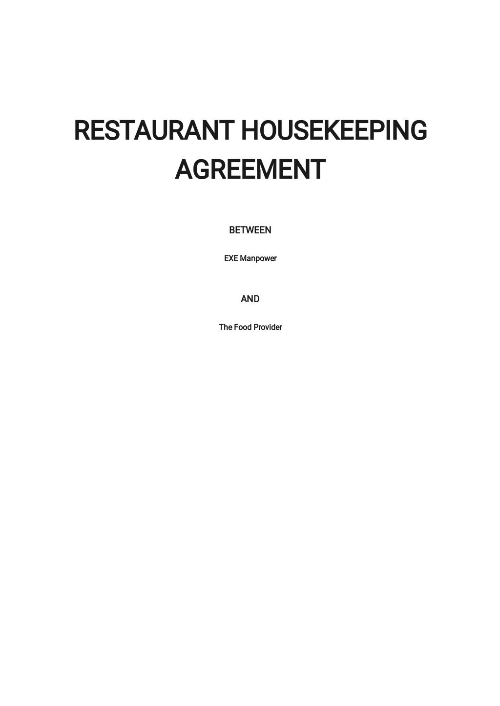 Restaurant Housekeeping Agreement Template