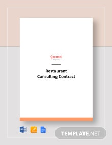 Restaurant Consulting Contract Template