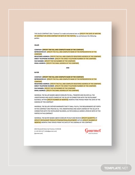Restaurant Sales Contract Template