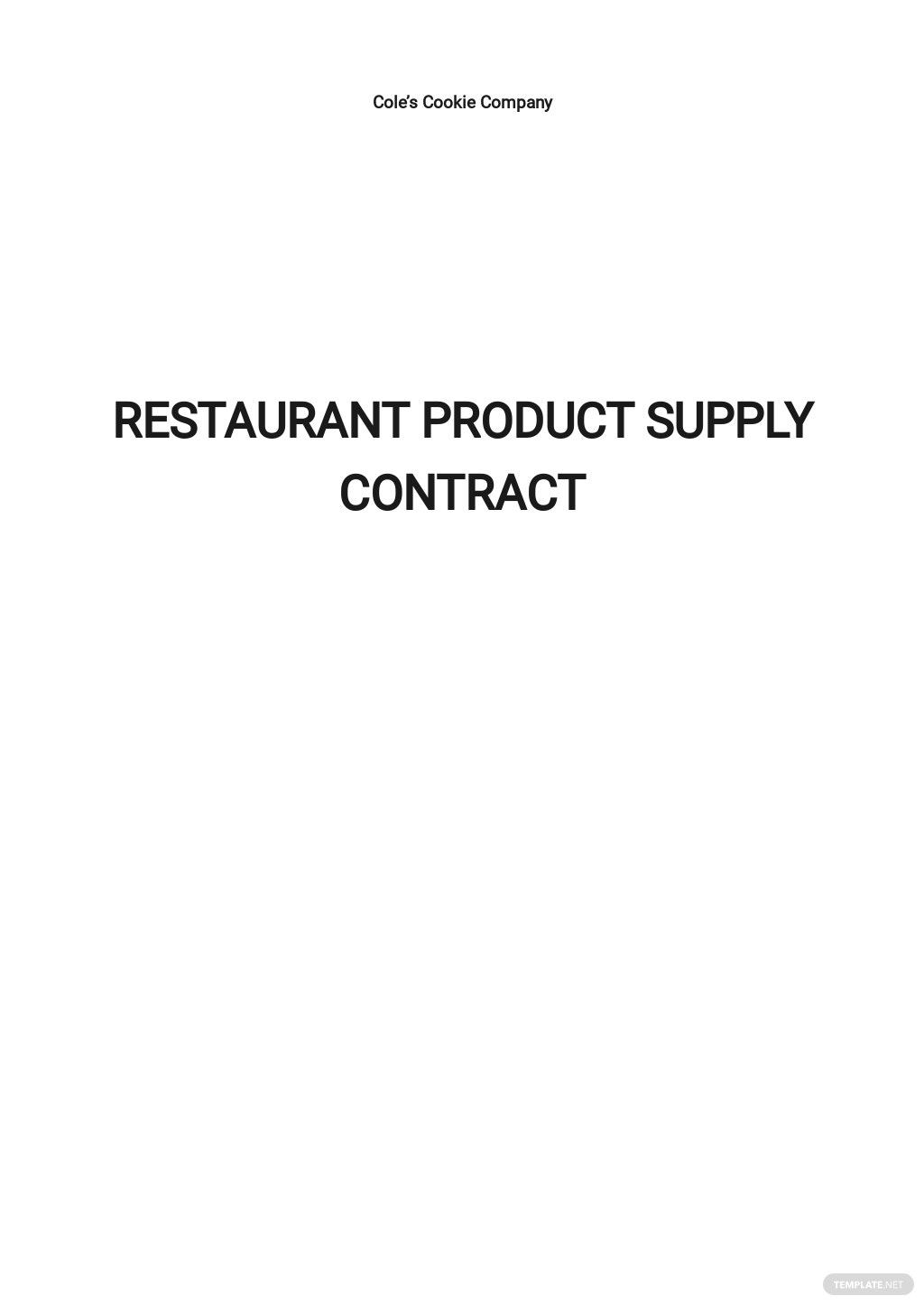 Restaurant Product Supply Contract Template
