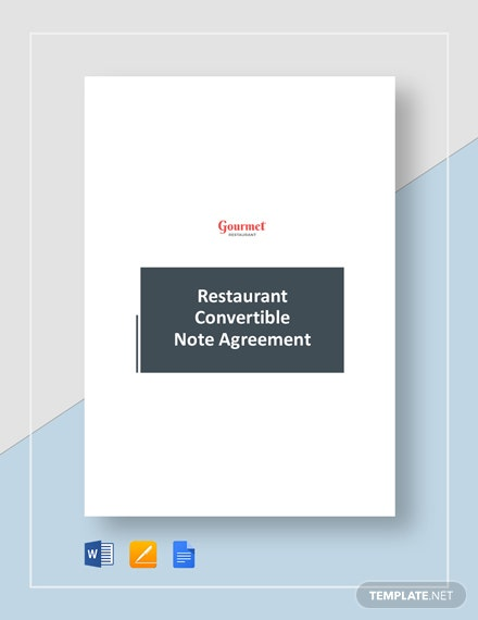 Restaurant Convertible Note Agreement Template