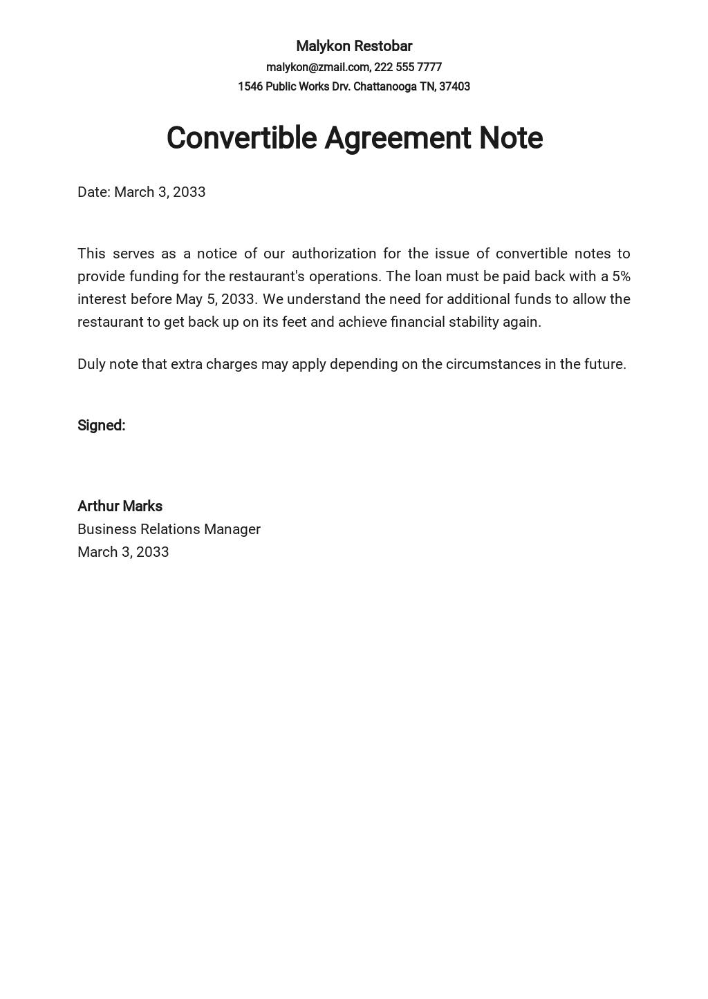 Restaurant Convertible Note Agreement Template