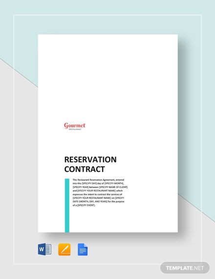 Restaurant Reservation Contract Template