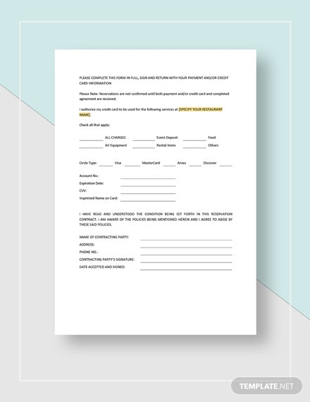 Sample Restaurant Reservation Contract