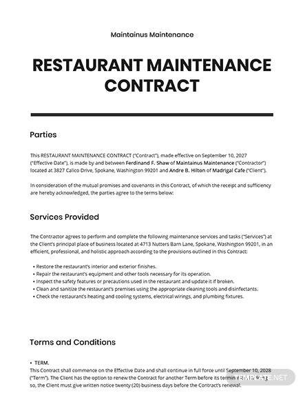 Restaurant Maintenance Contract Template