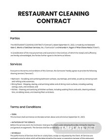 Restaurant Cleaning Contract Template