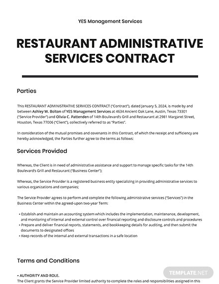 Restaurant Administrative Services Contract Template