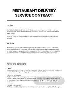Restaurant Delivery Service Contract Template