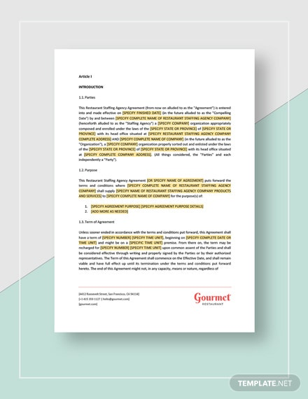 Restaurant Staffing Agency Contract Template Word Google