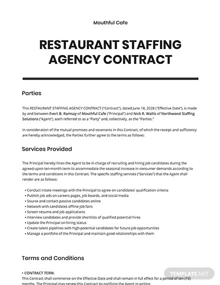 Restaurant Staffing Agency Contract Template