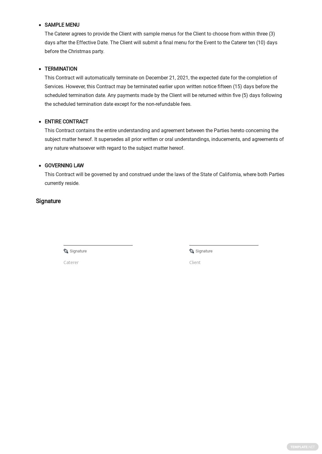 Restaurant Catering Contract Template [Free PDF] - Google Docs, Word, Apple Pages