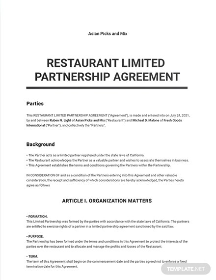 Restaurant Limited Partnership Agreement Template