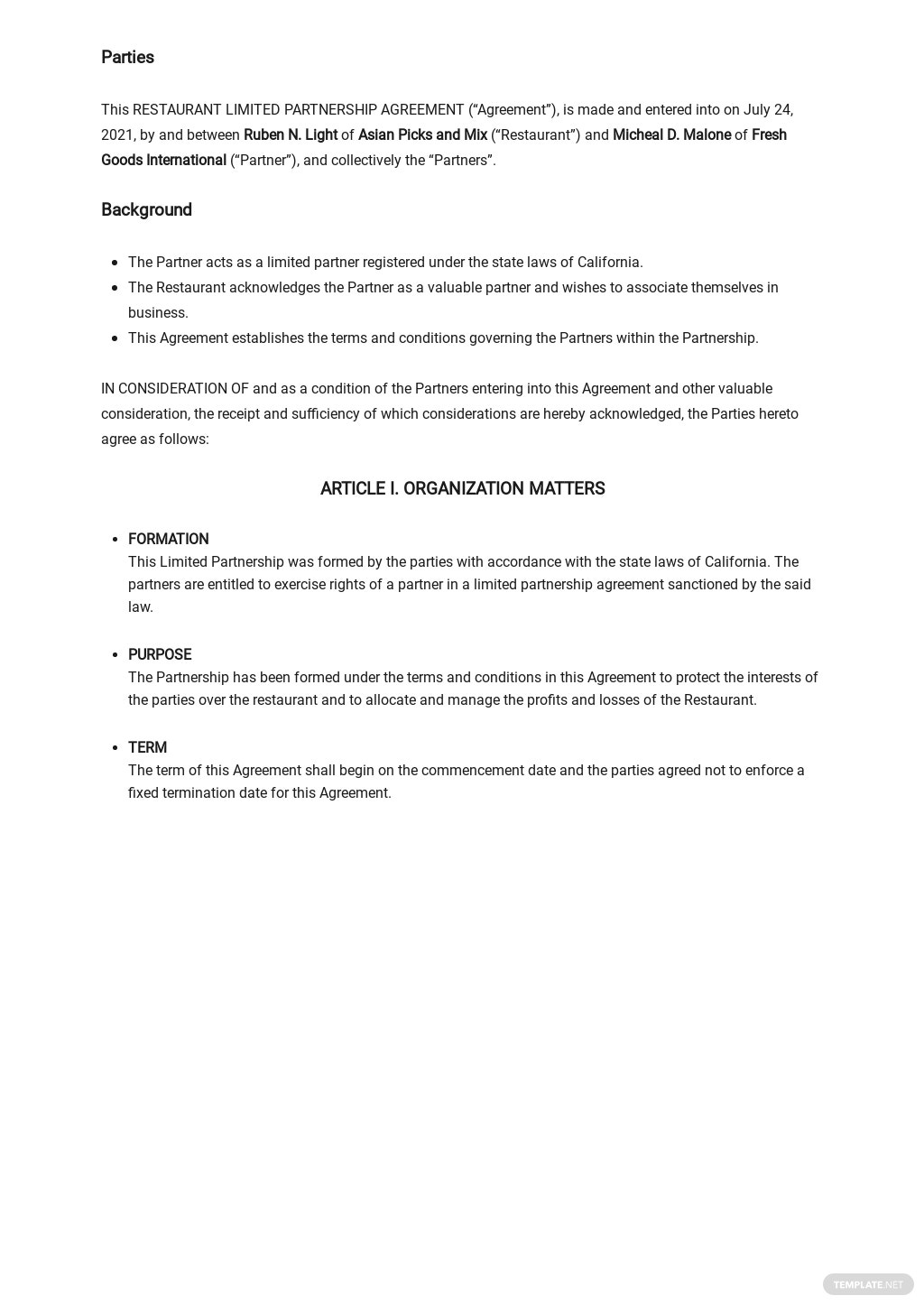 Restaurant Limited Partnership Agreement Template [Free PDF] - Google Docs, Word, Apple Pages, PDF