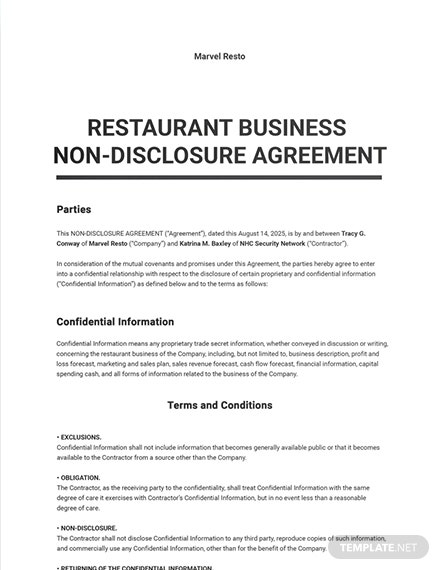 Restaurant Business Non Disclosure Agreement Sample