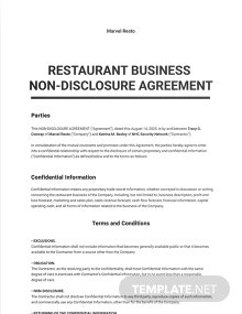 Restaurant Business Non Disclosure Agreement Template
