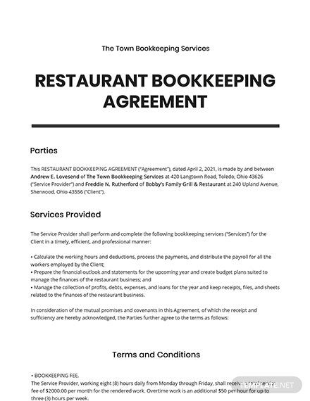 Restaurant Bookkeeping Agreement