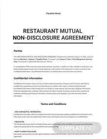 Restaurant Mutual Nondisclosure Agreement Template