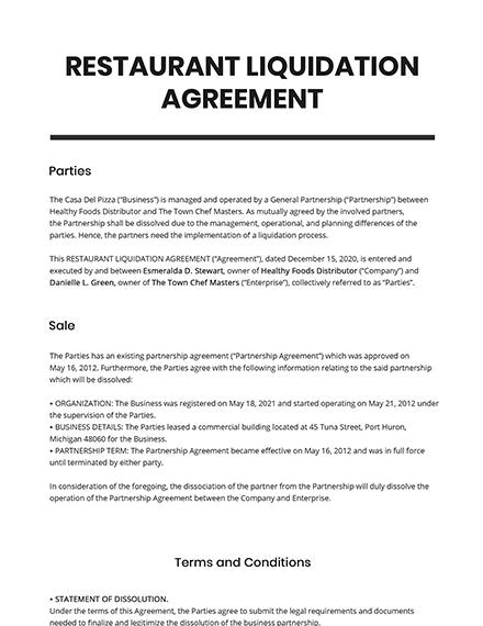 Restaurant Liquidation Agreement Template