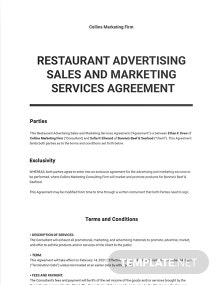 Restaurant Advertising Sales and Marketing Services Agreement Template