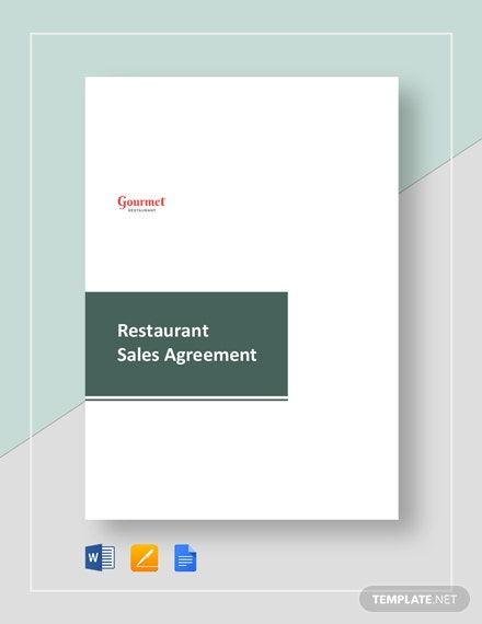 Restaurant Sales Agreement Template