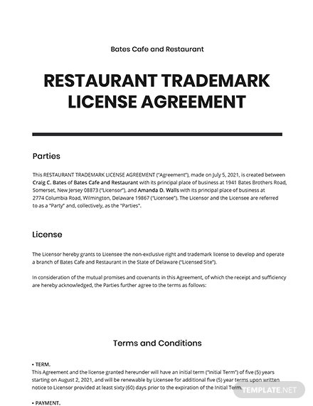 Restaurant Trademark License Agreement