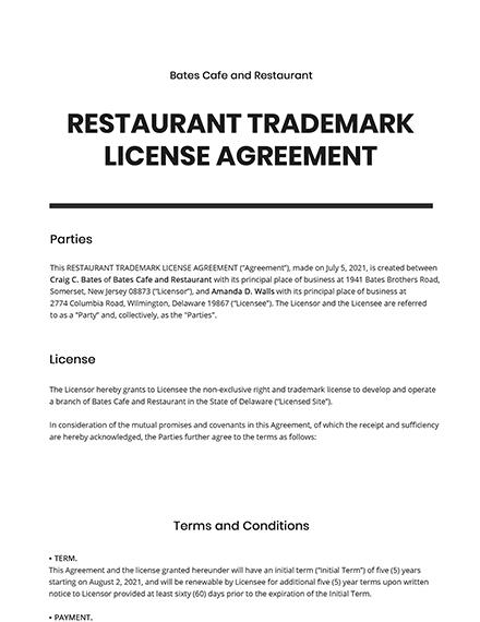 Restaurant Trademark License Agreement Template