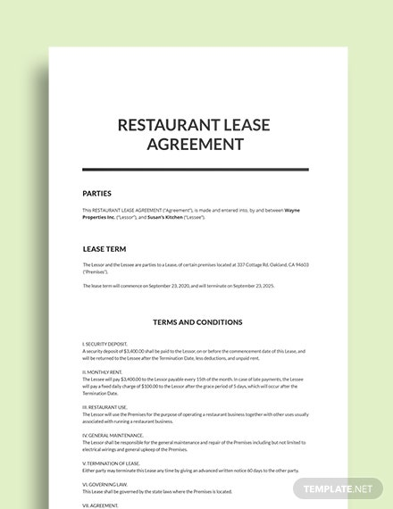 Restaurant Lease Agreement Template