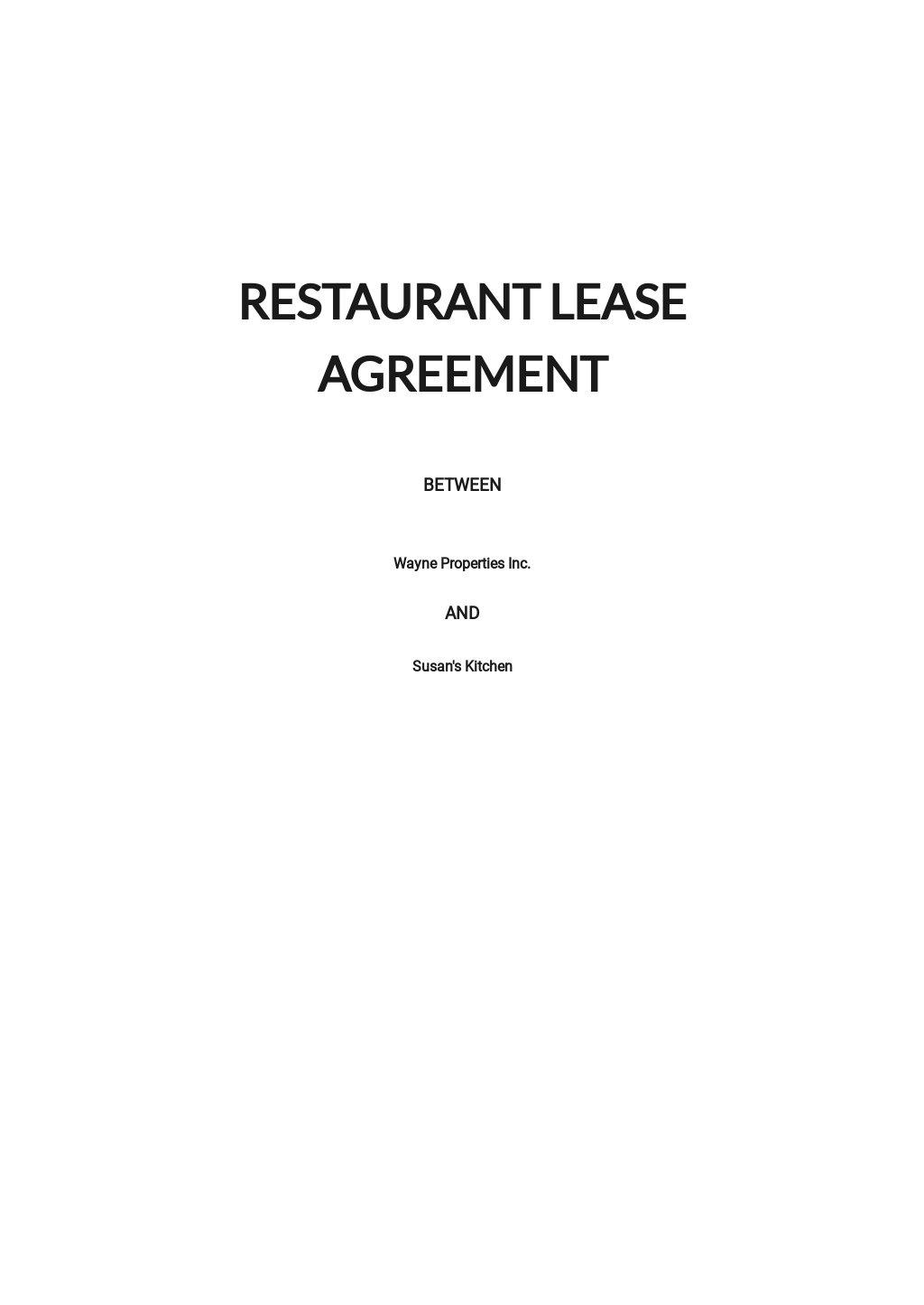Restaurant Lease Agreement Template