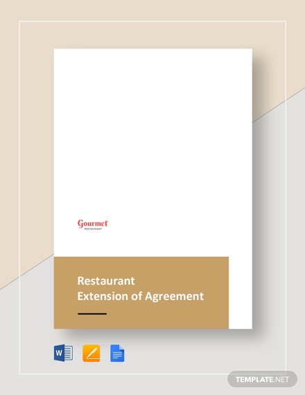 Restaurant Extension of Agreement Template