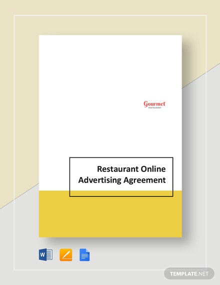 Restaurant Online Advertising Agreement Template