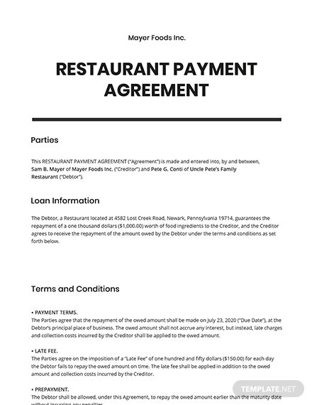 Restaurant Payment Agreement