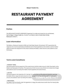 Restaurant Payment Agreement Template