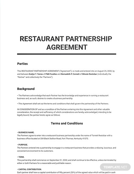 Restaurant Partnership Agreement Template