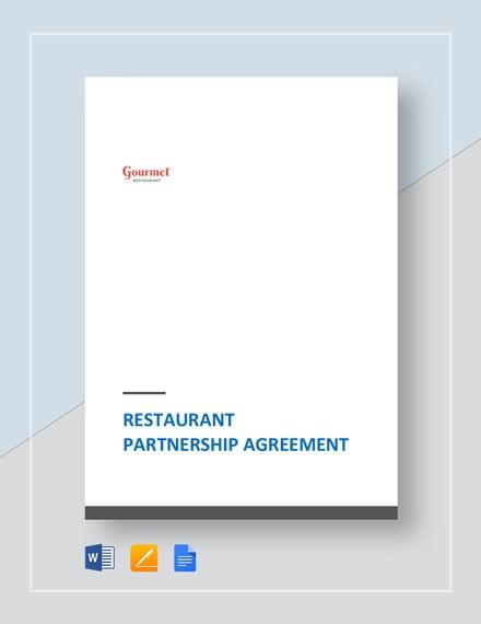 Restaurant Partnership Agreement Template