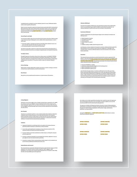 Restaurant Partnership Agreement Template Word Google