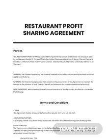 Restaurant Profit Sharing Agreement Template
