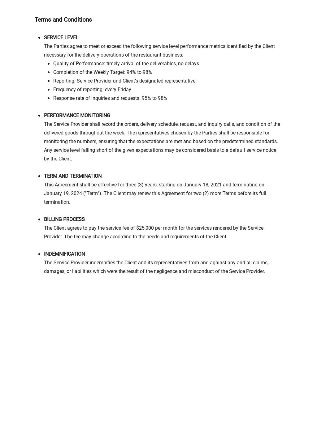 Restaurant Service Level Agreement Template 2.jpe