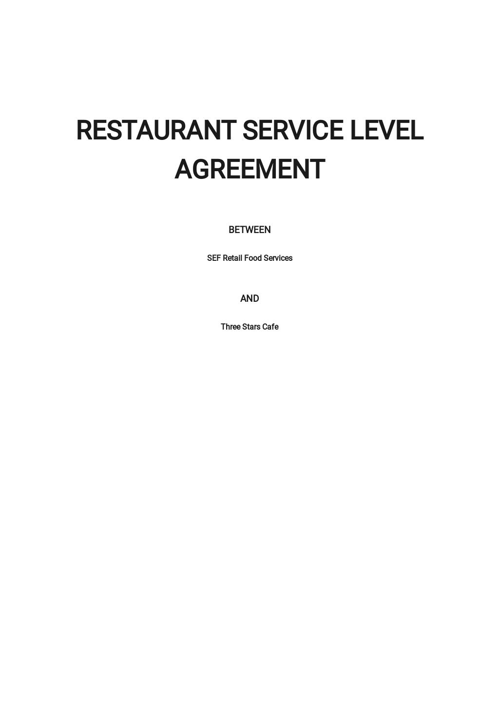 Restaurant Service Level Agreement Template.jpe