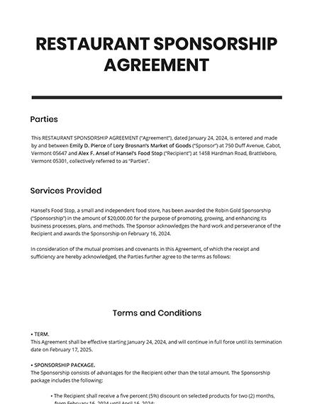 Restaurant Sponsorship Agreement Template