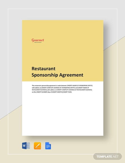 Restaurant Sponsorship Agreement Template