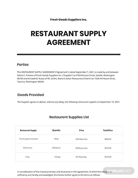 Restaurant Supply Agreement