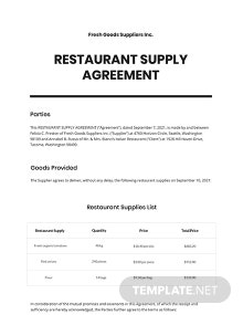 Restaurant Supply Agreement Template