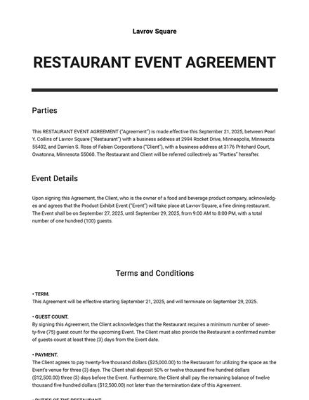 Editable Restaurant Event Agreement Template