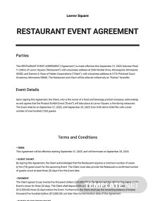 Restaurant Event Agreement Template
