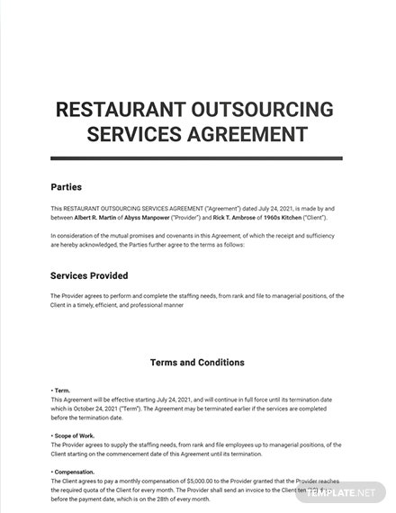 Restaurant Outsourcing Services Agreement Sample