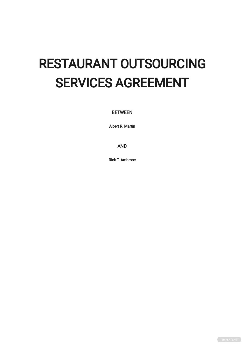 Restaurant Outsourcing Services Agreement Template