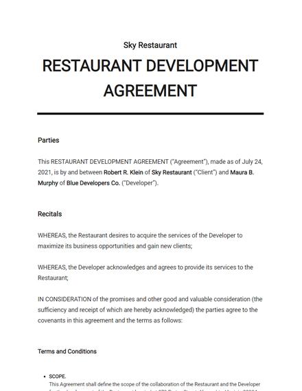Restaurant Development Agreement Template