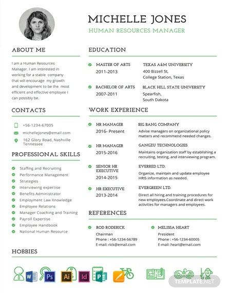 free professional hr resume and cv template  download 1471