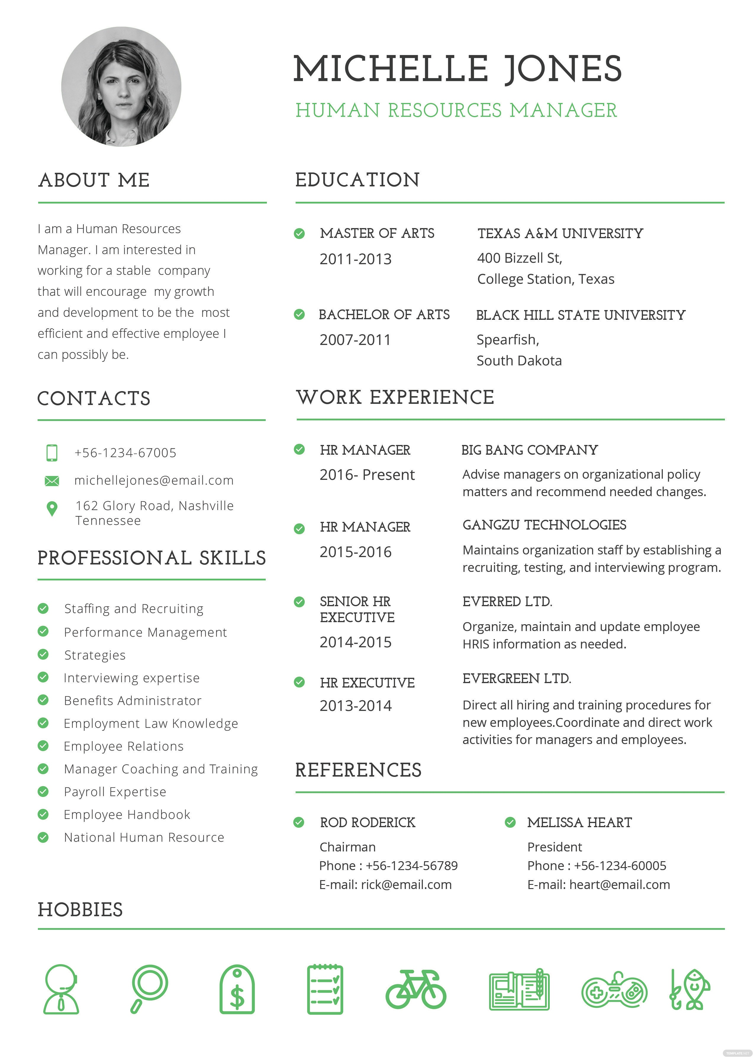 Free Professional Hr Resume And Cv Template In Psd Ms Word